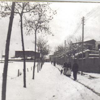 Nevada Gener de l'any 1915, encreuament de la Rambla Sant Sebastià/carretera de Sant Adrià, encara no estava la carretera de Sant Andreu.