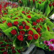 Roses preparades per a la venda durant la diada de Sant Jordi