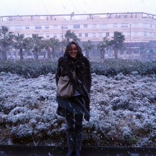 La plaça de la Biosfera en plena nevada!!!