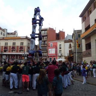 Castellers amb estelada, plaça del Lleó