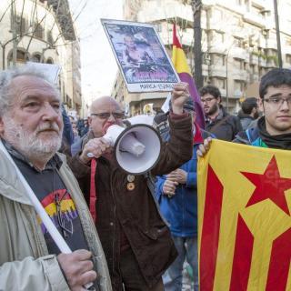 Diferents manifestacions a prop dels Jutjats de Palma a l'arribada de la infanta