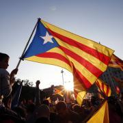 Estelades a la manifestació a favor de la República Catalana a la plaça Catalunya de Barcelona, el dia de l'abdicació del rei Joan Carles