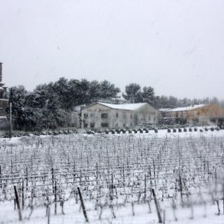 El nucli de Sant Miqul d'Olèrdola, a l'Alt Penedès, totalment nevat (horitzontal) La neu col·lapsa l'autovia C-15 entre Vilanova i la Geltrú i Vilafranca del Penedès