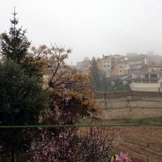Pla general d'Horta de Sant Joan, a la Terra Alta, quan ha començat a nevar. En primer pla, un ametller florit.
