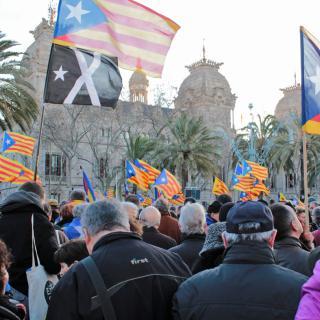 Manifestants amb banderes independentistes i una