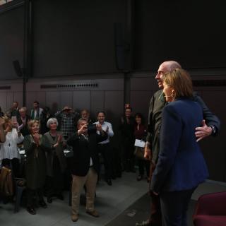 La presidenta del Parlament, Carme Forcadell, i el diputat de Junts pel Sí Lluís Llach, al dinar col·loqui Moment Zero