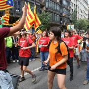 Manifestants pels carrers de Barcelona