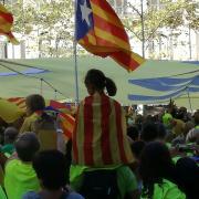 La manifestació a l'alçada dels Jardinets de Gràcia