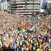 Ambient de la Diada. Cruïlla Aragó i Passeig de Gràcia
