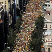 Estelada are waved as thousands of people gather for a rally on Catalonia's national day 'La Diada' in Barcelona