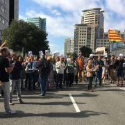 Treballadors de Benestar i Família protesten contra l'ofensiva de la Guàrdia Civil a Catalunya