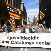 Concentració a la Via Laietana de Barcelona contra l'ofensiva de l'Estat