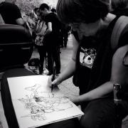 Xita Camps dibuixant la veu del poble català