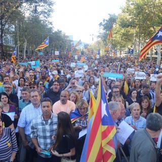 Manifestació en el centre de Barcelona aquest dissabte 21 d'octubre