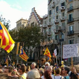 Moment de la manifestació d'avui 21 d'octubre 2017