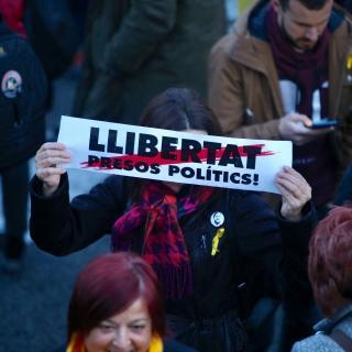 Consignes a favor de la llibertat, a la Diagonal de Barcelona
