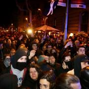 Moments de tensió entre els Mossos i els manifestants