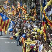 Artur Mas i la seva dona a la manifestació d'aquest diumenge