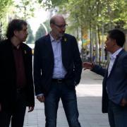 Joan-Lluís Lluís, Antoni Bassas i Martí Gironell, a la trobada organitzada per Grup 62