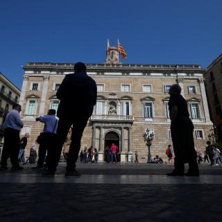 La plaça Sant Jaume hores abans de l'acte de presa de possessió