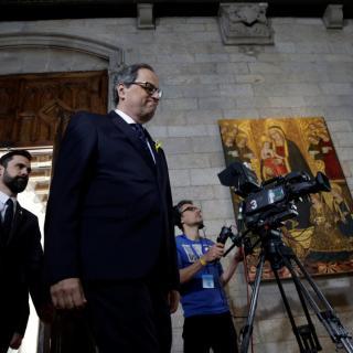Quim Torra arriba al saló Verge de Montserrat del Palau de la Generalitat