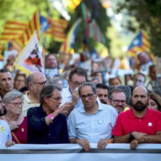 El president Quim Torra a la capçalera de la manifestació
