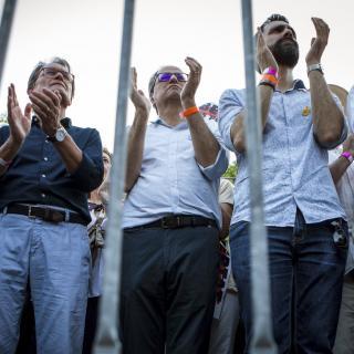 Artur Mas, Quim Torra i Roger Torrent a la manifestació