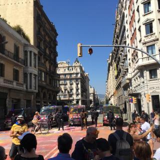 Un grup de manifestants han llançat pols de colors, que es fa servir en les festes 'holi'