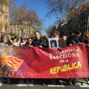 Aturada a la Universitat de Barcelona com a resposta a l'inici del judici