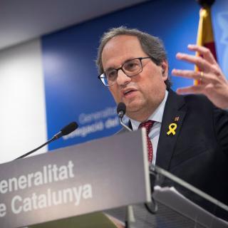 El president de la Generalitat, Quim Torra, valora el primer dia del judici de l'1-O a la delegació de la Generalitat a Madrid