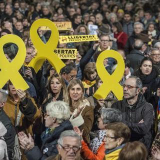 Acte de protesta convocat per les entitats per l'inici del judici de l'1-O, aquest dimarts a la Plaça Catalunya de Barcelona