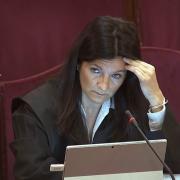Marina Roig, advocada de Jordi Cuixart, interroga un guàrdia civil dijous 21 de març