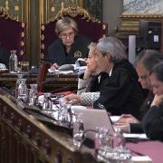 Álex Solà, advocat de Jordi Cuixart, durant la sessió del judici d'aquest dimarts 16 d'abril