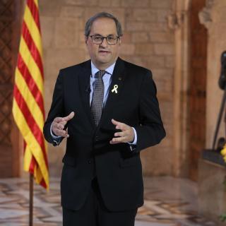 El president Quim Torra durant la declaració institucional amb motiu de Sant Jordi