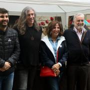 Marc  Artigau, Gerard Quintana, Sílvia Soler i Rafel Nadal, a l'esmorzar de Grup 62 per Sant Jordi