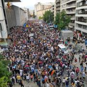 Concentració davant l'Ajuntament de Girona, aquest dilluns després de la sentència de l'1-O