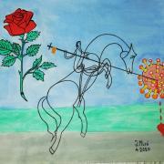 El dia de Sant Jordi en Joan farà 90 anys. Per celebrar-ho ens envia aquesta pintura, on ha plasmat la situació que estem vivint..