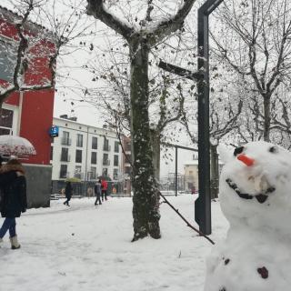 Un ninot de neu al centre d'Olot