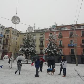 Veïns d'Olot gaudeixen de la nevada