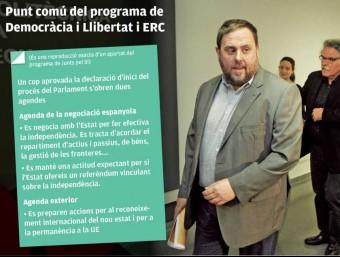 El president d'ERC, Oriol Junqueras, ahir amb Joan Tardà i Gabriel Rufián, en la presentació del programa electoral dels republicans Foto:ORIOL DURAN