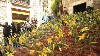Un dels muntatges florals de la ciutat de Girona.  Foto:MANEL LLADÓ