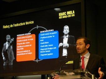 Marc Ingla presentant el seu projecte esportiu.  Foto:EL 9