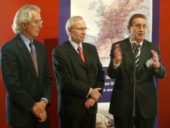 Joan Amorós, a la dreta, amb el president de la Cambra de Barcelona, Miquel Valls, en una presentació  Foto:Arxiu