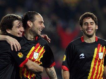 Bojan, Sergio García i Coro celebrant un dels gols. /  Foto:ORIOL DURAN