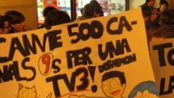 Protestes a Castelló pel tall de les emissions de TV3.  Foto:DIANA LLORENS