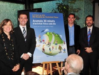 D'esquerra a dreta, Ada Parellada, Albert Marco, Ander Mirambell i Antoni Plasència durant la presentació.  Foto:J. ESTRUCH / SGE