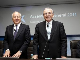 Joan Maria Nin i Isidre Fainé, director general i president de La Caixa, en l'assemblea que ha aprovat traspassar el negoci financer a Caixa Bank. Foto:L'ECONÒMIC
