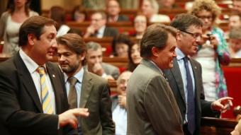 PARLAMENT.  Foto:EL PRESIDENT, ARTUR MAS, I DIVERSOS MEMBRES DEL GOVERN, EN LA SESSIÓ D'APROVACIÓ DE LES LLEIS. FOTO: ARXIU