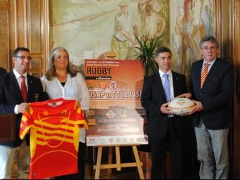 La Festa del Rugbi Català, amb el partit de la USAP com a activitat estel·lar, va ser presentada ahir Foto:FCR