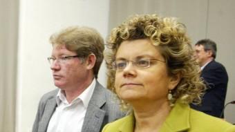 Fernández i Geli –dreta–, amb Montse Palma durant una assemblea del PSC l'any 2008 Foto:MIQUEL RUIZ